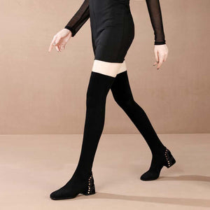 Over the knee boots leather boots with a thick heel stretch high boots