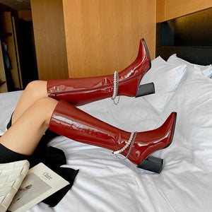 Pearl high heels high top knight boots patent leather boots thick heel