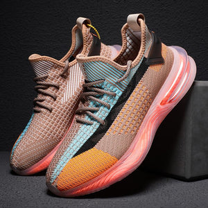 Popcorn breathable rainbow men's shoes plus size flying woven breathable shoes