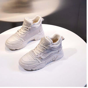 Cowhide sneakers thick soled shoes warm and velvet casual shoes