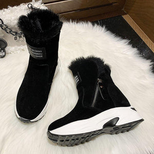 Snowshoes women's shoes Mid Cut Winter Korean version as well as velvet monochrome