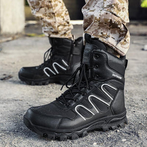 SIKAINI men's military boots outdoors Combat hiking boots Non-slip, abrasion-resistant tactical boots