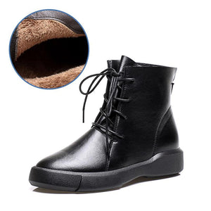 SIKAINI Martin boots women black brown lace