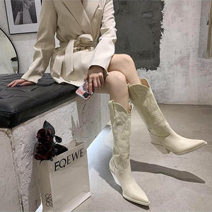 Pointed thick heel white embroidered boots vintage knight boots