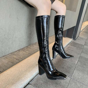 Pointed high-heeled thick high-heeled motorcycle biker boots