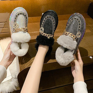 Winter ladies cotton shoes and velvet-padded snow shoes ladies soft bottom