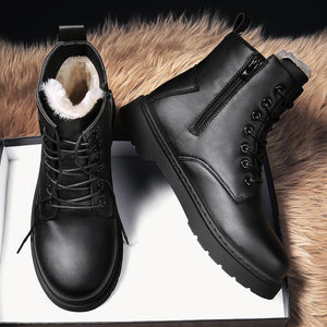 Winter plush high-top cotton shoes Martin leather shoes men's shoes