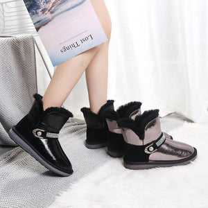 Winter round toe flat warm short boots cotton shoes snowshoes