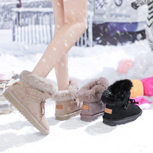 Winter round head hairball flat warm short boots cotton shoes snowshoes