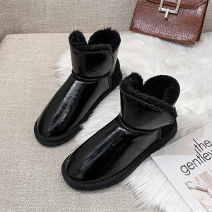 Winter Shoes Women Mid-Calf Boots Women Cotton Winter Boots Women Warm Fur Women Shoes Winter Women Boots lace Up