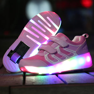 USB Chargable LED Light Up Roller Shoes Wheeled Skate Sneaker Shoes for Boys Girls - SIKAINI