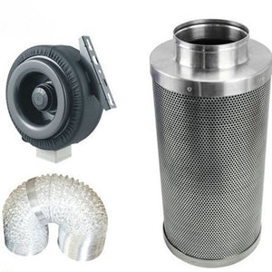 Inline Fan and Charcoal Filter with  2 packages of Rope Ratchets