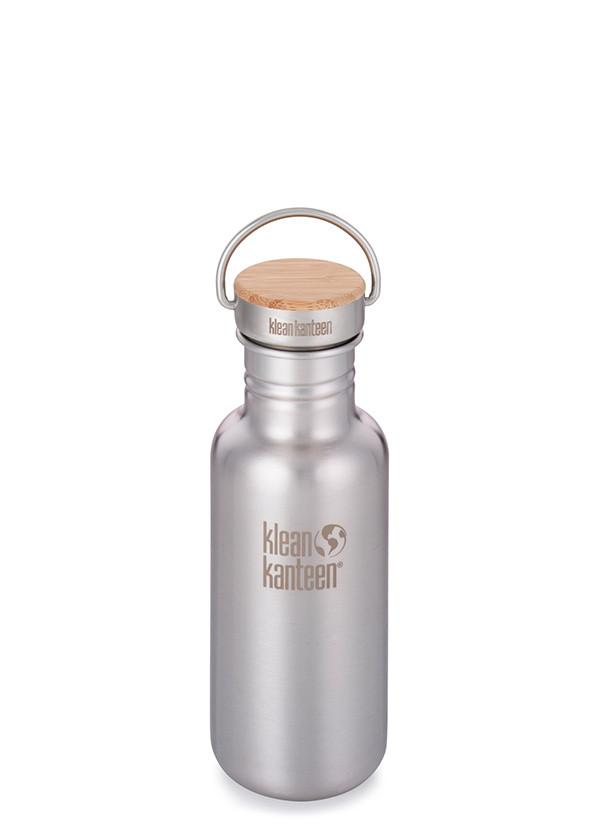 Klean Kanteen Reflect Brushed Stainless Steel Water Bottle. Bamboo Lid