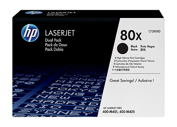 HP 80x - 2-pack - High Yield - black - original - LaserJet - toner cartridge