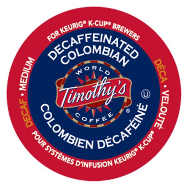 Keurig® Timothy's® Decaffeinated Colombian - Medium, 24 pods / pack