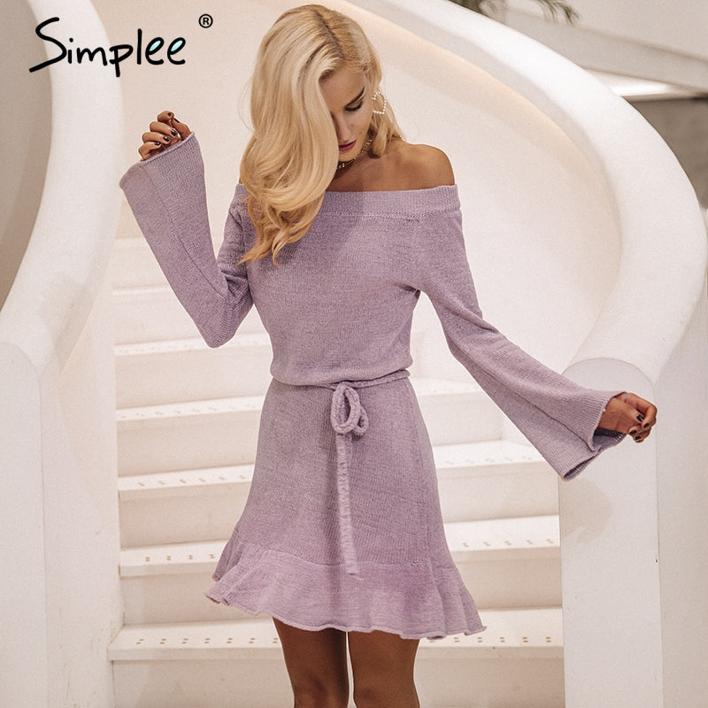 2f03105038d5 Simplee Sexy off épaule tricoter robe pull femmes Élégantes volants sash  robe courte Casual manches longues automne hiver robe