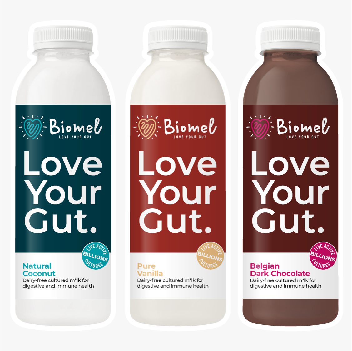 Biomel Dairy-Free Probiotic Drinks Mixed Flavours (9 Bottles x 510ml @ £3.60 each)