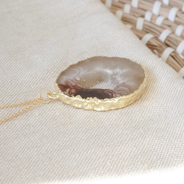 Geode Slice Necklace-Necklace-Blonde and Stone