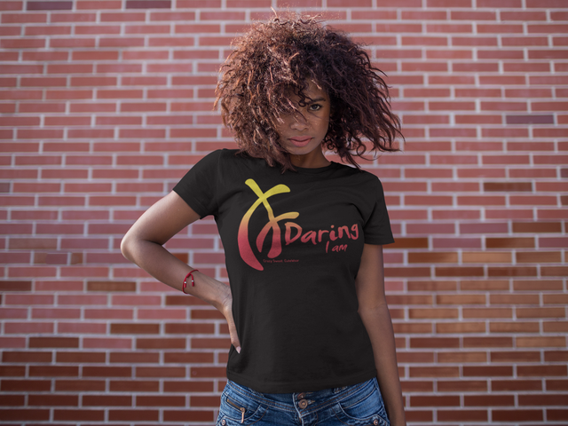 Woman wearing Daring I am t-shirt designed by Crazy Sweet CuteWear. Yellow and Pink on Black.