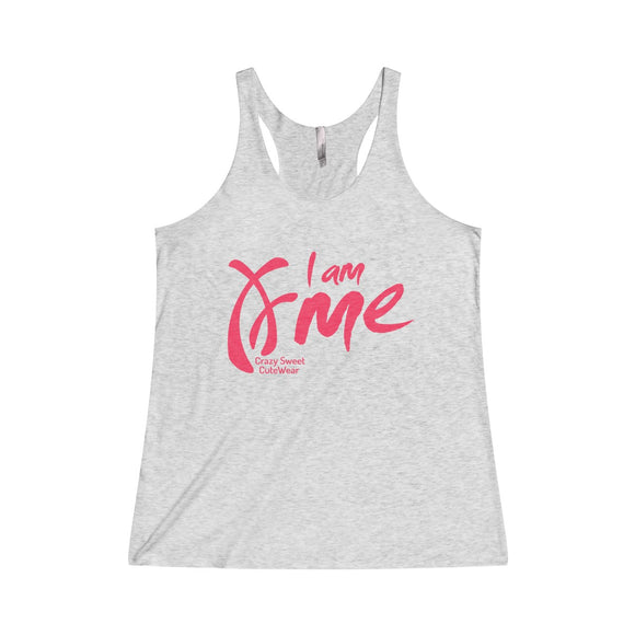 I am Me, Tank Top, Pink on Heather White or Black or Purple
