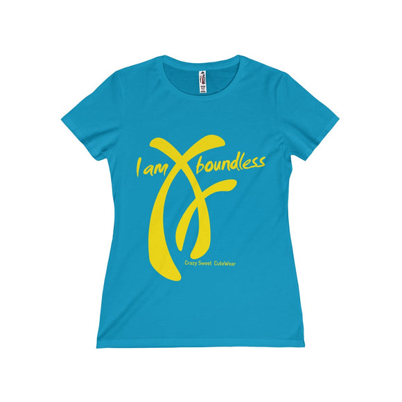 Woman t-shirt. I am Boundless Collection designed by Crazy Sweet CuteWear. Yellow on Turquoise. Classic missy tee with shorter sleeves. 100% soft cotton.