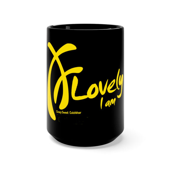 Lovely I am Collection, Yellow on Black, Mug