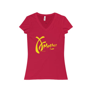 "Women's t-shirt. V-neck. 100% soft cotton. Yellow on Red. ""Mother I am"" Collection designed by Crazy Sweet CuteWear."