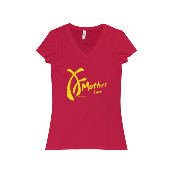 Women's t-shirt. V-neck. 100% soft cotton. Yellow on Red.