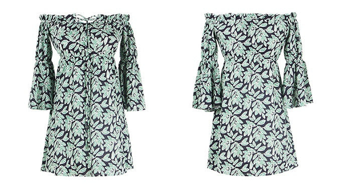 Allen Tropical Print Horn Sleeves Dress