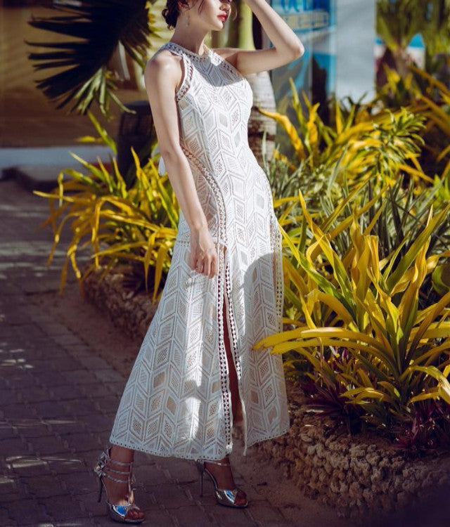 Fall For You Double Slit Lace Maxi Dress