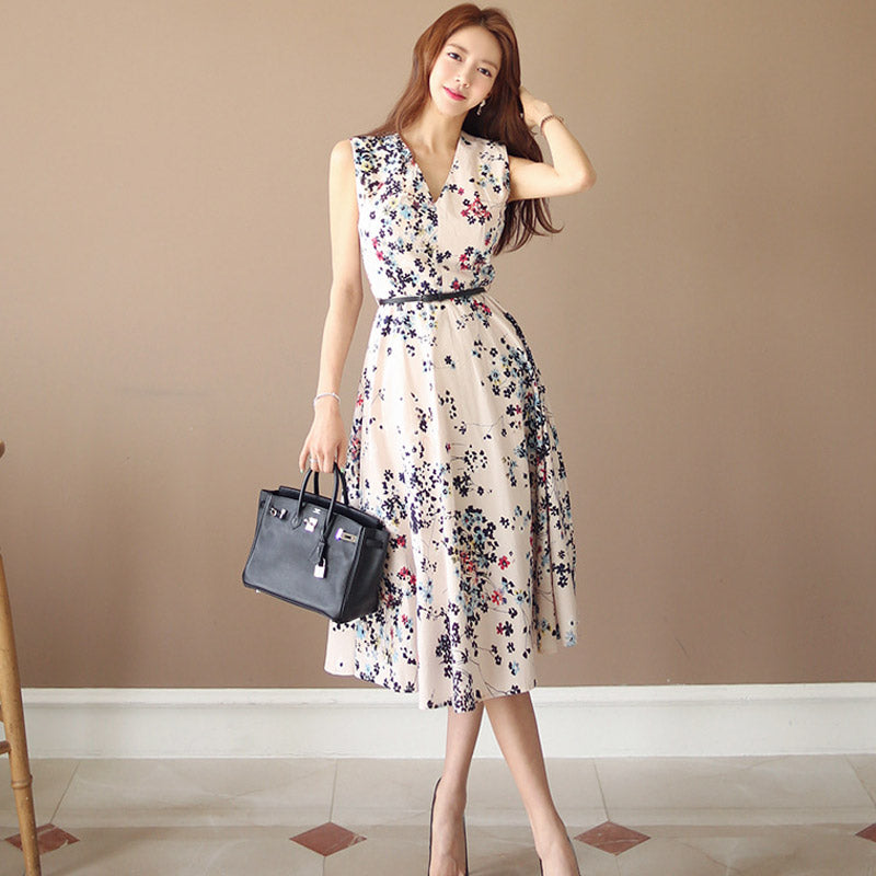 Amaryllis Summer Floral Midi Dress