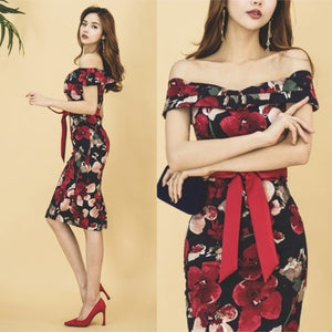 Charlotte Off Shoulder Floral Print Dress