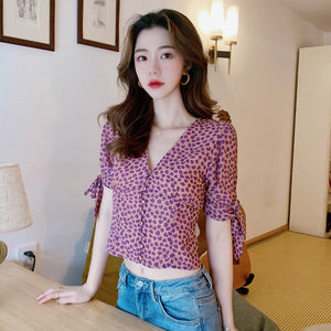 Blooming Heart Sleeve Tie Blouse
