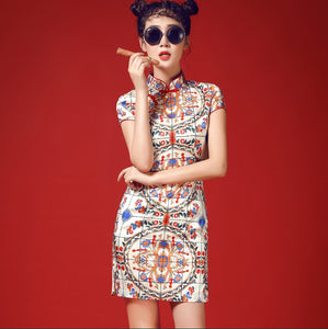 The Oriental Beauty Porcelain Cheongsam Dress