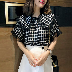Noelle Wide-Collar Checkered Blouse
