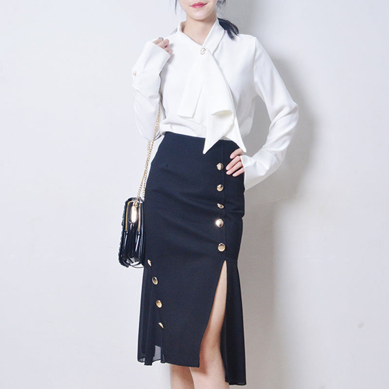 Kei Kei Side Slit Midi Skirt