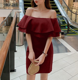 Rhea Off Shoulder Ruffle Dress