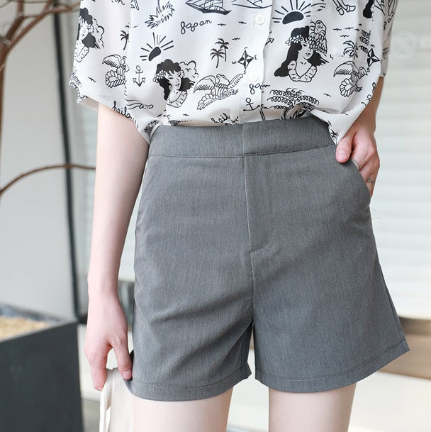 Agnnes High Waist Grey Shorts
