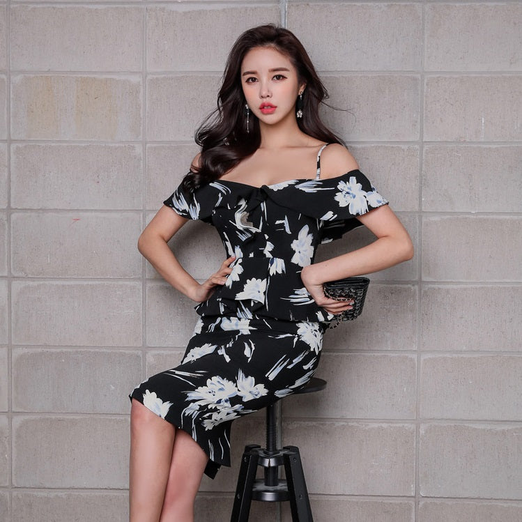 Lylinth Off Shoulder Floral Print Dress