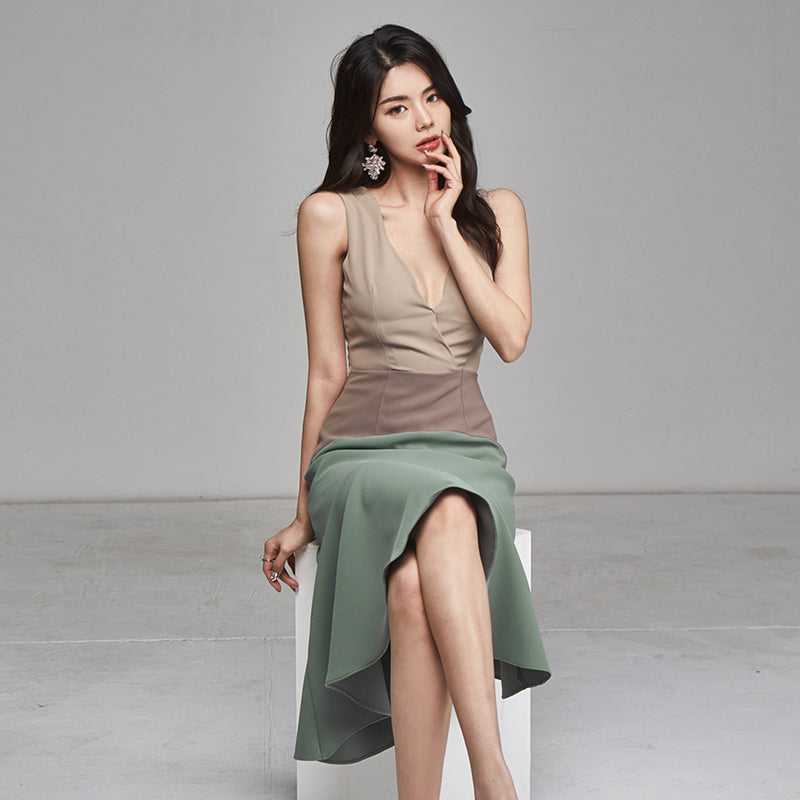 Kimmie Color Block Asymmetric Hem Dress