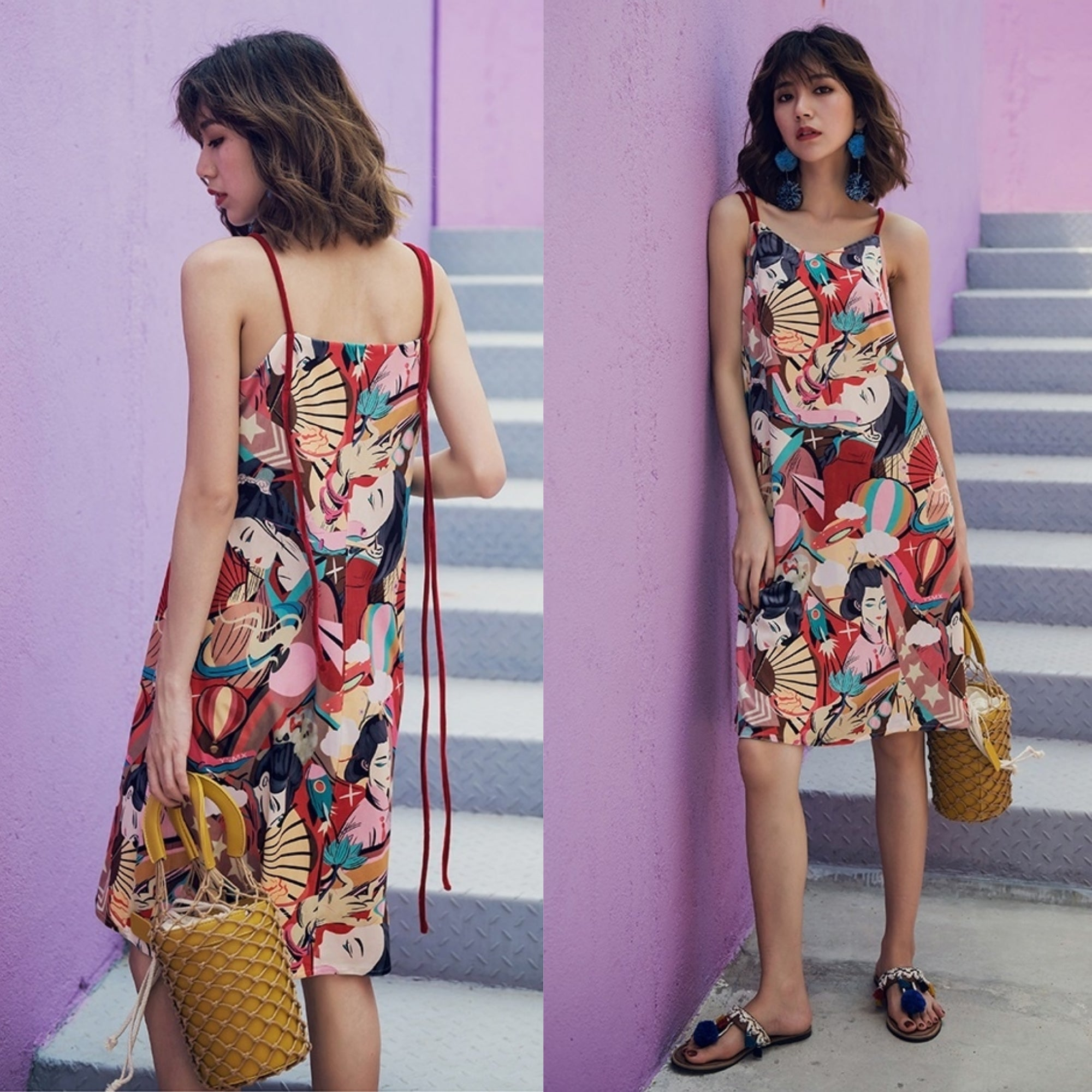 Hayami Japanese Culture Print Dress