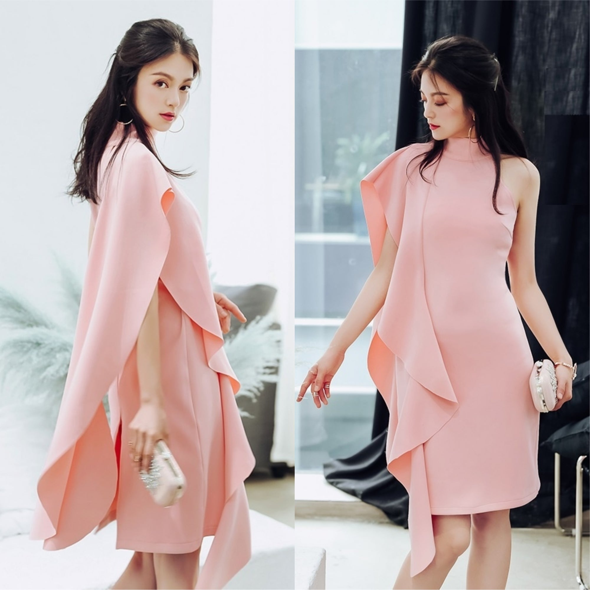 Florencio Sideway Ruffle Dress in Pink [Limited Edition]