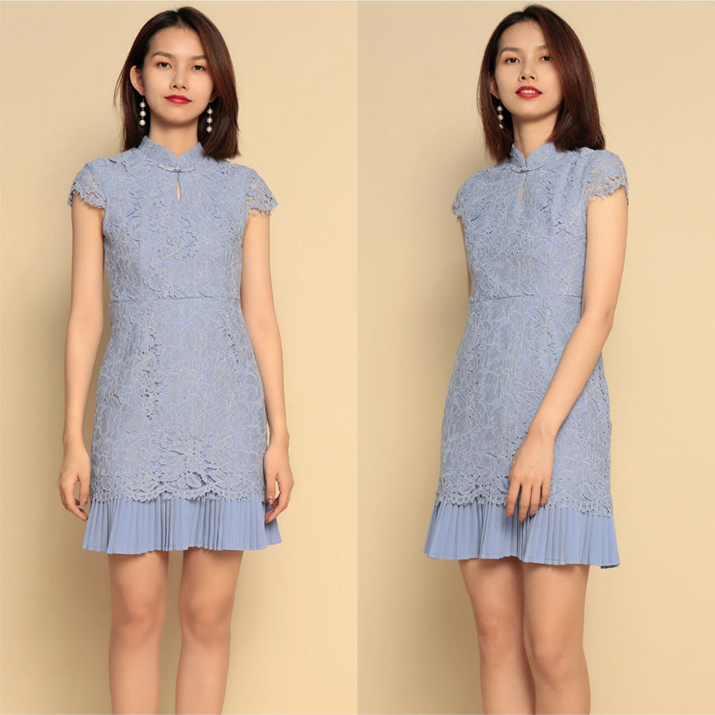 Rynne Lace Pleated Hem Cheongsam [5 colours]