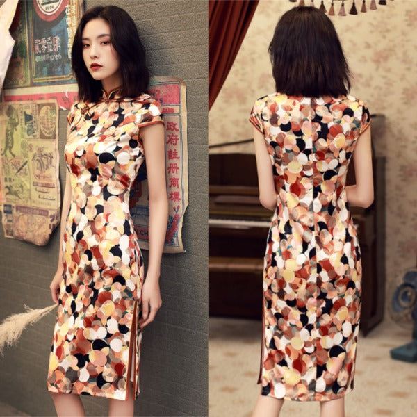 Arley Abstract Print Modern Cheongsam