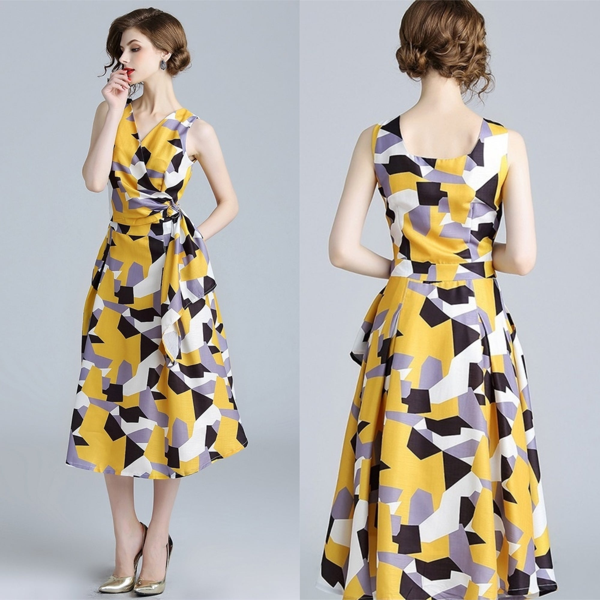 Deloise Abstract Print Midi Dress