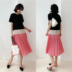 Mavis Pleated Colour Block Dress