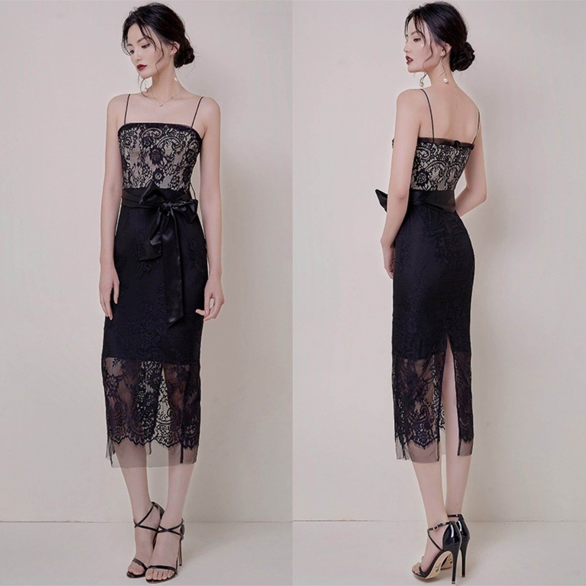 Luna Midnight Lace Midi Dress