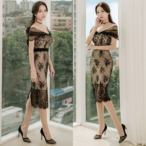 Adoure Off Shoulder Lace Dress