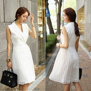 Chrystelle Side Pleated Tuxedo Dress