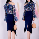 Amaryllis Floral Top and Asymmetric Skirt Set
